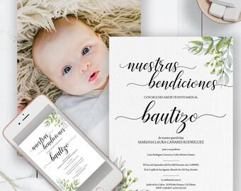 Unisex Invitacion de Bautizo, Baptism Invitations in Spanish, Spanish inviation baptism, spanish baptism, invitacion bautismo, baptism