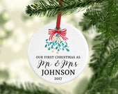 Our First Christmas Ornament | Personalized Christmas Ornament | Custom Gift for Couple | Keepsake Ornament Tree Decoration