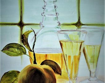 White Wine and Peach, a still life
