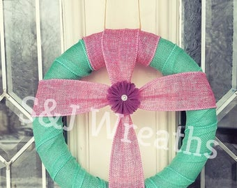 Burlap Cross Wreath/Spring Wreath