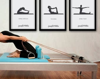 PILATES POSTER - Set 2 of 3 Pilates Poster - Pilates Art Print - Pilates Studio Decor - Pilates Inspiration  - Pilates Wall Decor - Wall Art