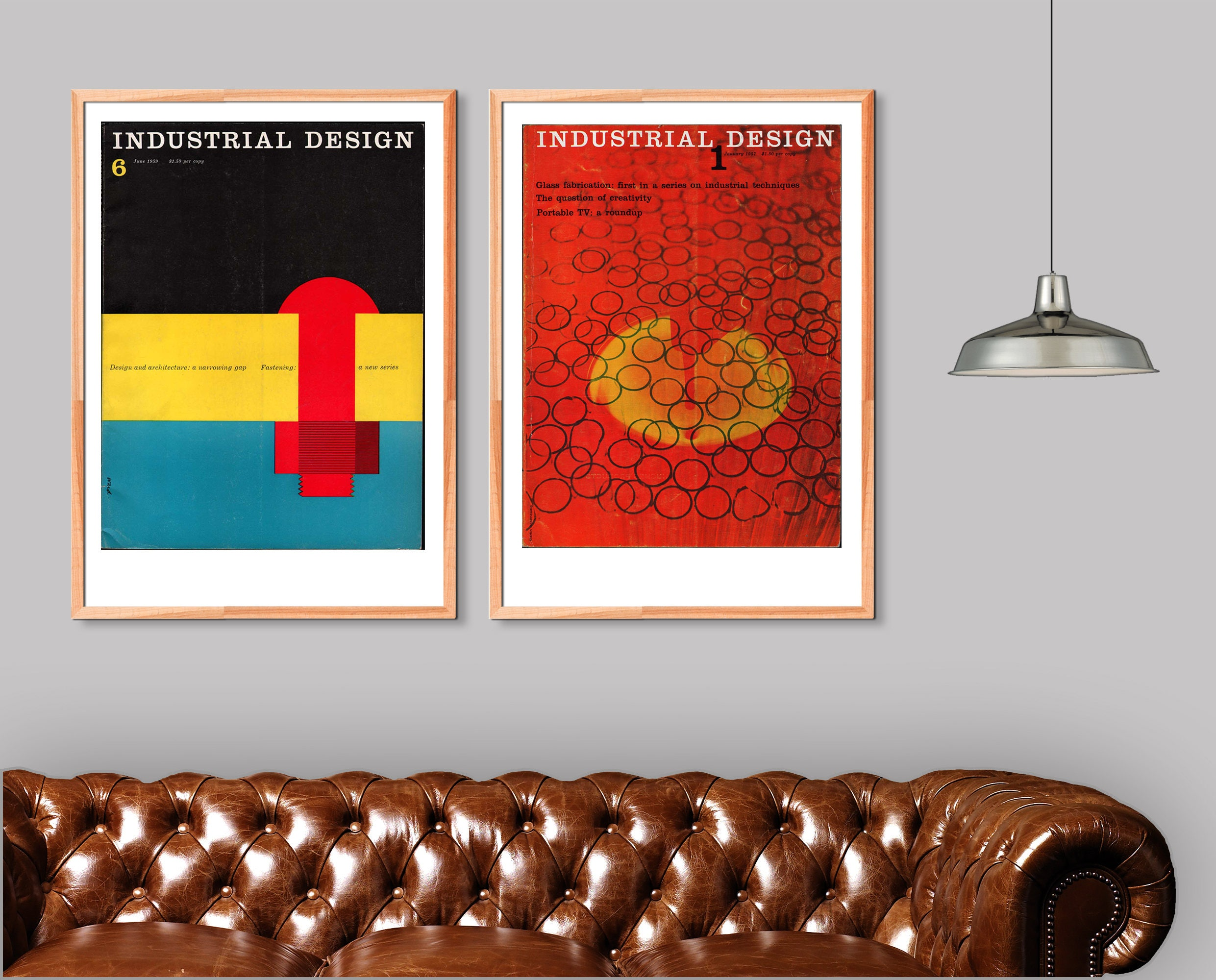 Industrial Design Mid Century Poster Print Wall Art Diptych 2 Piece Wall Art  Bauhaus Graphic Home Decor Geometric Colorful Artwork 1960s