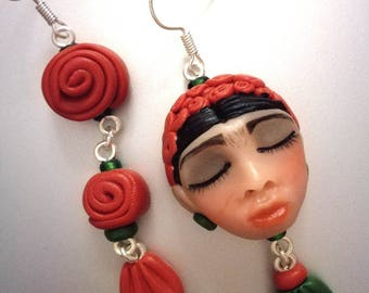 """Frida Kahlo-earrings """"I paint the flowers to keep them from wilting entirely handmade"""