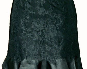 Christian Lacroix •  Black Lace Skirt With Frill Hem • Size UK 10 / FR 40.