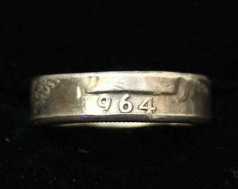 US Silver Coin Ring 1964 Quarter 90% Silver
