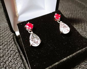 Ruby and Super Seven Gemstone Solid Sterling Silver Earrings
