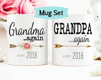 Pregnancy Announcement to Grandparents Again, Grandparents Again Mug Set, Grandparents Established,, Baby Announcement Mug, Grandma Mug