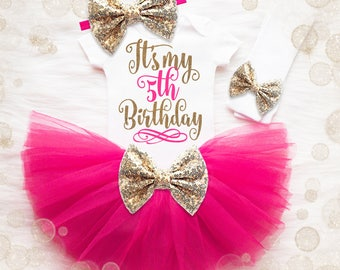 5th Birthday Outfit Girl | 5th Birthday Girl Shirt | Pink And Gold Birthday Outfit | 5th Birthday Tutu Set | Girl 5th Birthday Tutu Set