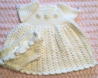 Handmade White Baby Girl Dress and Diaper Cover