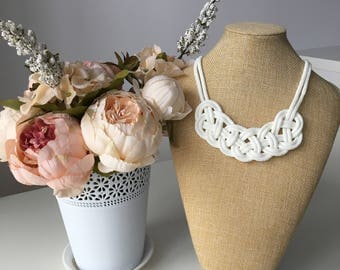 White rope necklace- white  knot necklace- Bib necklace- Nautical necklace- Braided necklace- Necklace for her- Gift for her- Christmas gift