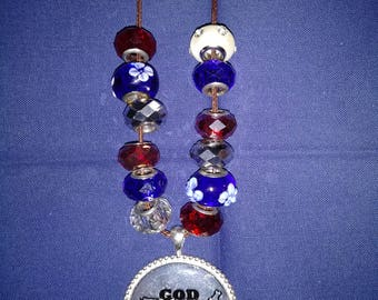 GOD BLESS AMERICA  - Pendant & Beaded Necklace.  18 Inch Brown Cord  (can change cord color at your request)  Patriotic !!