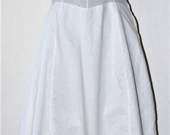 Vintage 1940's Cotton Eyelet Slip Dress by STONES WEST 100% Cotton-Metal Side Zipper-Strapless-Gorgeous White Cotton= Eyelet Lace Trim 36 L