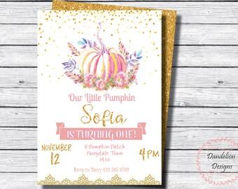 Pumpkin birthday invitation, Little Pumpkin Party, Pumpkin Invitation, 1st birthday invite, Gold Glitter, Pumpkin birthday, Glitter Pumpkin