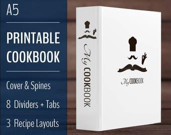 Printable Recipe Book Binder / Cookbook Binder Kit / A5 Recipe Binder / Minimalist, Clean, Zen / French, Stylish, Black White / Download