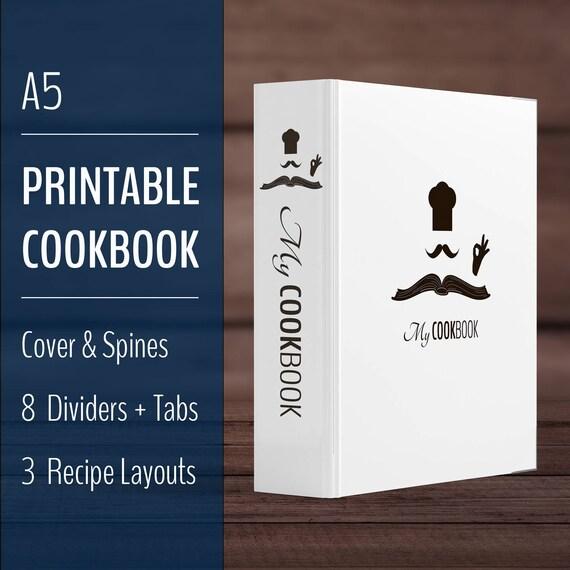 Printable Recipe Book Binder / Cookbook Binder Kit / A5 Recipe