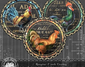 Rooster 2 Inch  Chalkboard Circles, Digital Collage Sheet, Printable collage Sheet