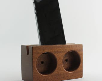 Acoustic Amplifying Phone Dock  - Mahogany - iPhone 7 compatible - Modern Decor - Hand-Made in USA