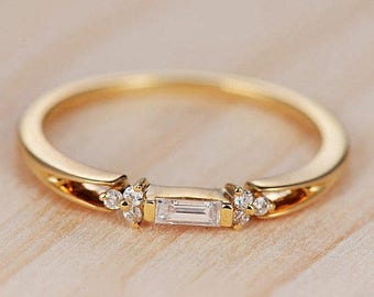 Diamond Wedding Band Women Baguette Cut Yellow Gold Promise Antique Bridal Set Delicate Solitaire Birthstone Anniversary Gift For Her