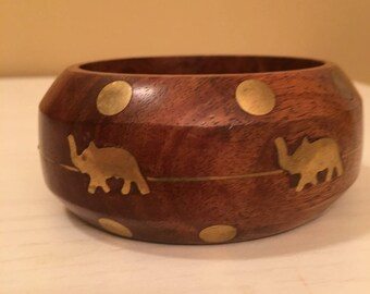 Vintage Wide Wooden Look with Gold Tone Elephants and Circles Bangle Bracelet