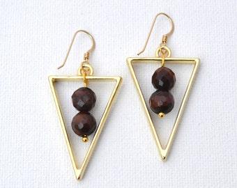 Triangle Tiger Eye Beaded Drop Dangle Earrings // Gold Filled Earring Hooks // Gemstone Earrings Geometric