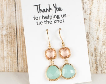 Long Mint and Peach Gold Earrings, Gold Mint Earrings, Mint Green Earrings, Bridesmaid Jewelry, Green Wedding Jewelry, Bridesmaid Gift