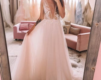 Unique Light Pink A Line Wedding Dress With V-neck Lace Bodice and soft Skirt, 2018 by Boom Blush.