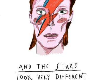 David Bowie A5 print with quote