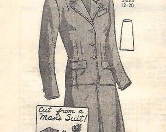 Vintage 1940s Sewing Pattern Women's Suit cut from a Man's Suit Bust 34 Rare WW2 WWII Upcycle