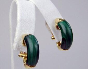 18k Gold malachite clip on earrings #10594