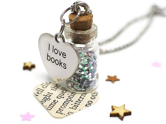 Bookishness - Book jewelry gift - Bookworm necklace - Bookish jewelry - Book lover necklace - Reader jewelry - Book lover gift - Bibliophile