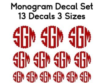 Monogram Decal Bundle - Bulk Set of Monograms - Back to School Monograms - Monogram Decal Set - School Supply Decals - Combo Monogram Set