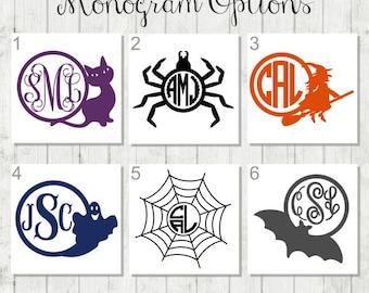 Halloween Monogram Decal - Halloween Decal - Monogram Decals - Halloween Party Decal - School Holiday Party Decal - Web Decal - Spider Decal