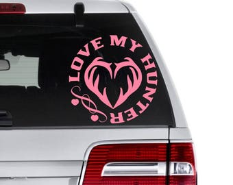 Hunting Decal, Antler Decal, Hunting Couples Gift, Female Hunting Gift, Deer Decal, Truck Decal, Hunting Love Decal, Gift for Hunter, Antler