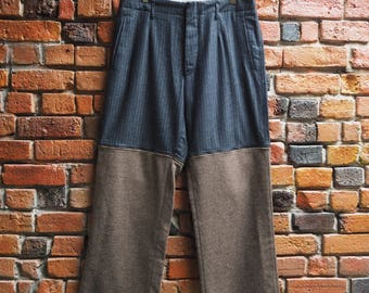 Men's 70s Dolce And Gabbana Designer Navy Blue Pinstripe And Brown Wool Pants Adjustable To Shorts Size Large W36