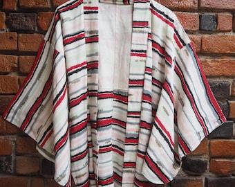 Women's 50s White Red And Black Silk Japanese Kimono Jacket Size Small Medium