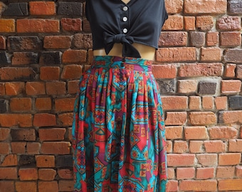 Women's 80s Red, Burgundy And Turquoise Blue Aztec Print Pattern High Waisted Midi Skirt With Pockets Size Small