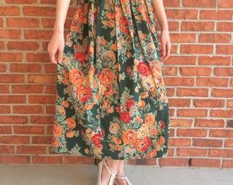Vintage Ralph Lauren floral midi-skirt