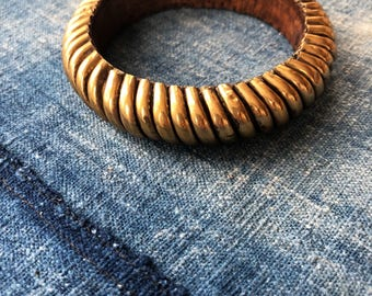 Vintage Wooden Bangle with Gold Color Outer Edge