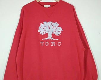 Rare!! TORC Embroidered Big Logo Spell Out Crewneck Red Vintage Sweatshirt | Sweater | Jumper Size XL