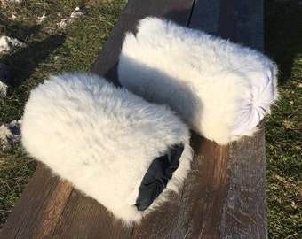 Two Pillows Bolsters of Sheepskin / Two Pillows Rolls of Natural Fur / Two Cushions / Two Decorative Pillows