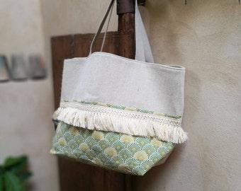 Tote bag - Woven cotton/jute, cotton canvas printed, trim ecru tassel - Boho chic Style