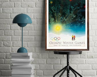 St Moritz, Winter Olympics 1948, Winter Sports, Vintage Poster Print