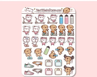 34 Stickers (Mini) - Workout Planner Stickers, Exercise Planner Sticker, Gym Fitness, Cute Cat Pug - NextWeeksDream DMS06