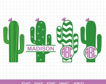 Cactus svg, Cactus Monogram frame svg, cactus monogram, monogram frame, cut files for Circut & Silhouette, Svg, Dxf, Eps, Png, Jpg.
