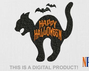 INSTANT DOWNLOAD - Black Cat machine embroidery design. Halloween. All Hallows' Eve. Jack O' Lantern. Embroidery file