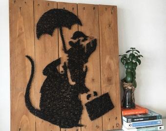 Banksy Rat - String Art - Reclaimed Pallet Wood Wall Art - Handmade - PopArt