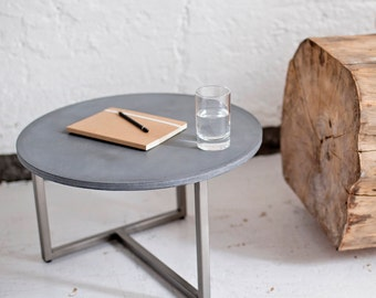 Concrete table, living room table, coffee table, side table made of concrete and steel