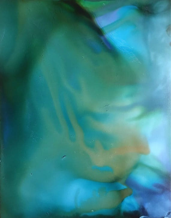 "Original Alcohol Ink Abstract Painting: ""Breathing Under Water"" (11"" X 14"")"