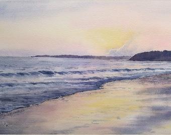 Aquarelle originale, peinture à l'aquarelle, paysage marin, coucher de soleil, bord de mer, fait main