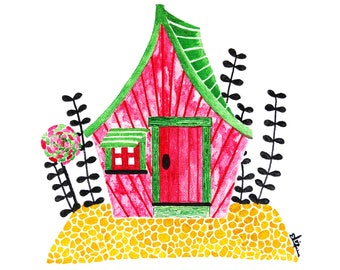 8x8 Watermelon House art print